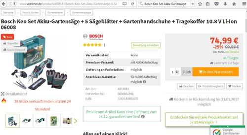 Bosch Keo Set Akku-Gartensäge - jetzt 25% billiger