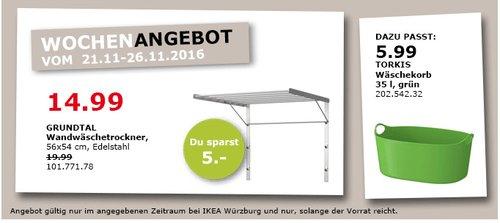 GRUNDTAL Wandwäschetrockner 56x54 cm Edelstahl - jetzt 25% billiger