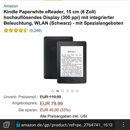 Kindle Paperwhite eReader, 15 cm (6 Zoll) Wlan Schwarz - jetzt 33% billiger