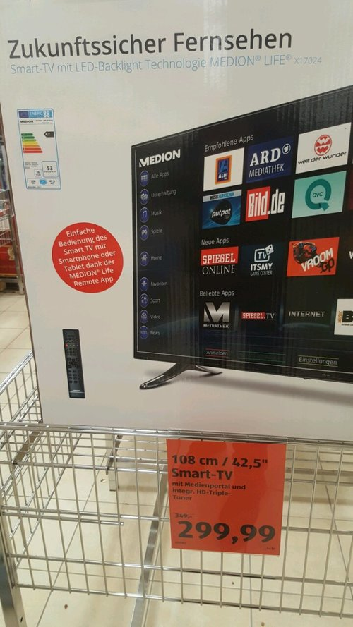 Medien Life X17024 Smart-TV LED 42,5 Zoll - jetzt 14% billiger