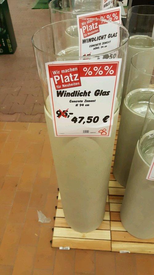Windlicht Glas Concrete Zement Höhe 94 cm - jetzt 50% billiger