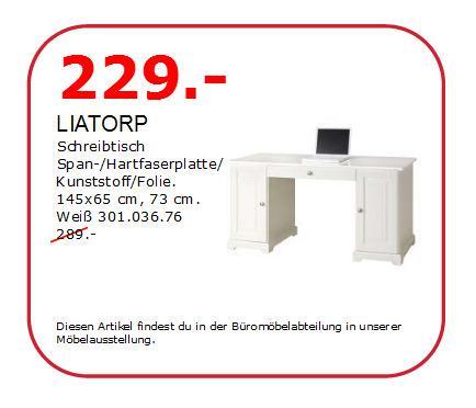 LIATORP Schrteibtisch, weiß, 145x65 cm, 73 cm hoch - jetzt 21% billiger
