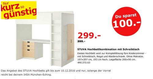 STUVA Hochbettkombination mit Schreibtisch 107x207 cm, 193 cm hoch - jetzt 25% billiger