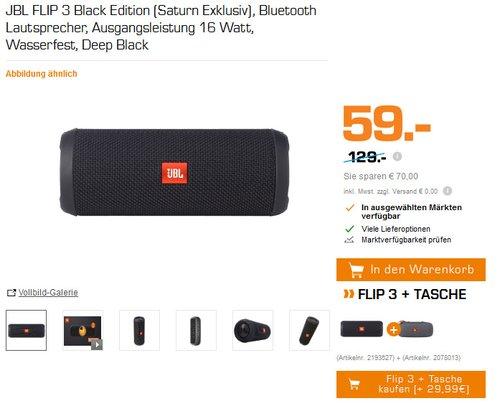 JBL FLIP 3 Black Edition (Saturn Exklusiv), Bluetooth Lautsprecher, Ausgangsleistung 16 Watt, Wasserfest, Deep Black - jetzt 54% billiger