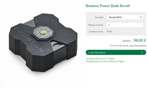 Brunton Revolt XL 9000 Powerbank black - jetzt 18% billiger