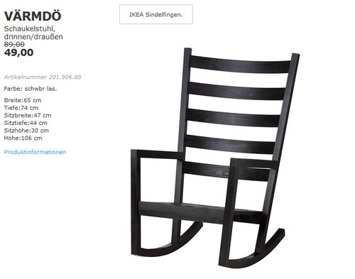 IKEA VÄRMDÖ Schaukelstuhl - jetzt 45% billiger