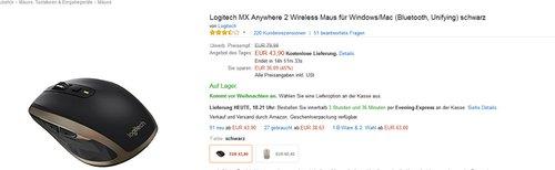 Logitech MX Anywhere 2 Wireless Maus für Windows/Mac (Bluetooth, Unifying) schwarz - jetzt 30% billiger