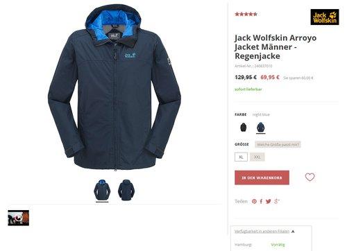 Jack Wolfskin Arroyo Jacket Männer , night blue  - jetzt 46% billiger