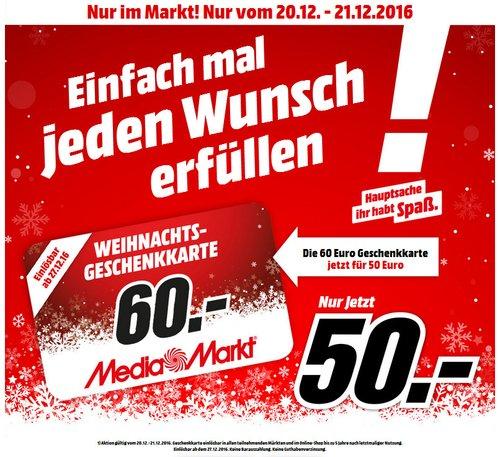 MediaMarkt-Geschenkkarte 60€ für 50€ - jetzt 17% billiger