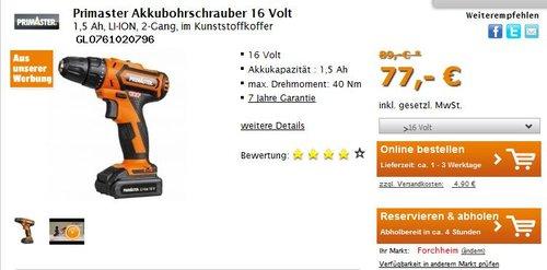 Primaster Akkubohrschrauber 16 Volt 1,5 Ah, LI-ION, 2-Gang, im Kunststoffkoffer  - jetzt 13% billiger