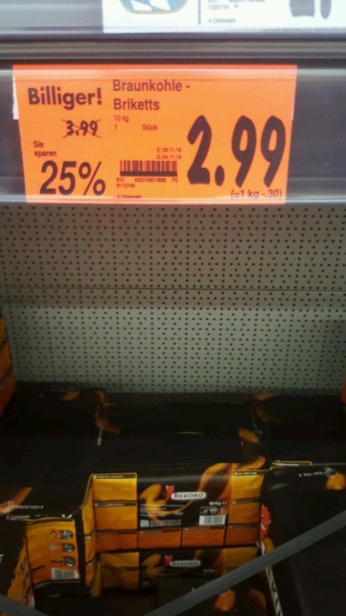 Rekord Braunkohle-Briketts 10Kg - jetzt 25% billiger