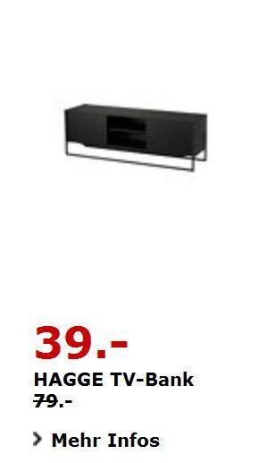 HAGGE TV-Bank Schwarz 150 x 40cm, 50cm hoch - jetzt 51% billiger