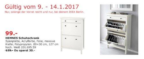 HEMNES Schuhschrank Weiß 89x30 cm, 127 cm hoch - jetzt 23% billiger