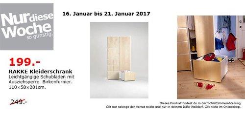 RAKKE Kleiderschrank Birkenfunier 110x58x201cm - jetzt 20% billiger