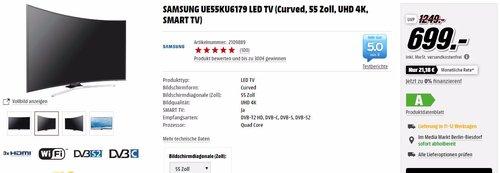 SAMSUNG UE55KU6179 LED TV Curved UHD 55 Zoll - jetzt 44% billiger
