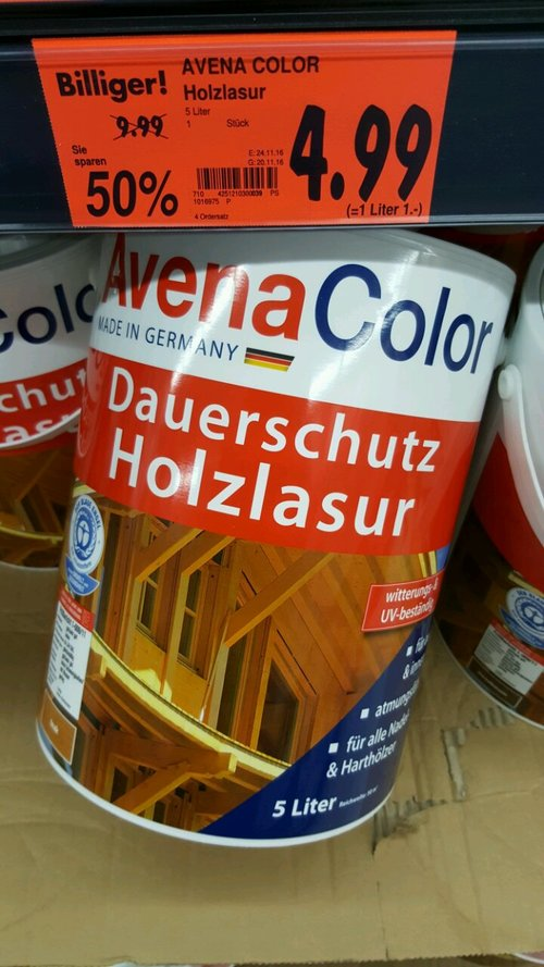 AVENA COLOR Holzlasur 5 Liter - jetzt 50% billiger