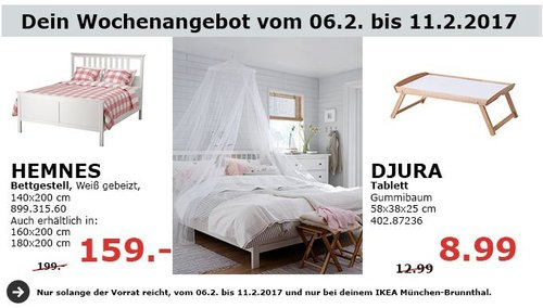 IKEA HEMNES Bettgestell, weiß, 140x200 cm - jetzt 20% billiger