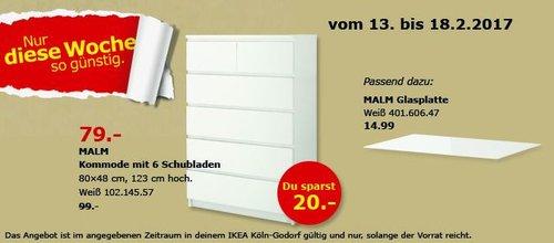 IKEA MALM Kommode mir 6 Schubladen, 80x48 cm, 123 cm hoch, weiß - jetzt 20% billiger
