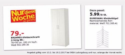 IKEA BRIMNES Kleiderschrank 2-türig, 70x50 cm, 190 cm hoch, weiß - jetzt 20% billiger