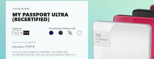 Western Digital My Passport Ultra 3 TB Externe Festplatte, brillantweiß -Recertified- - jetzt 49% billiger