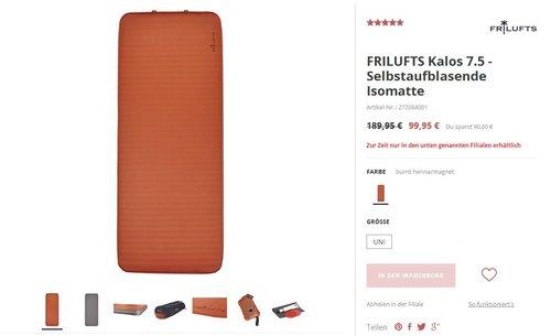 Selbstaufblasende Isomatte -FRILUFTS_Kalos _7.5- - jetzt 47% billiger