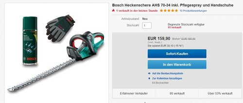 Bosch Heckenschere AHS 70-34 - jetzt 16% billiger