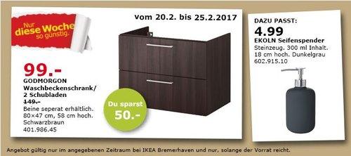 IKEA GODMORGON Waschbeckenschrank/2 Schubl., 80x47 cm, 58 cm hoch, schwarzbraun - jetzt 34% billiger