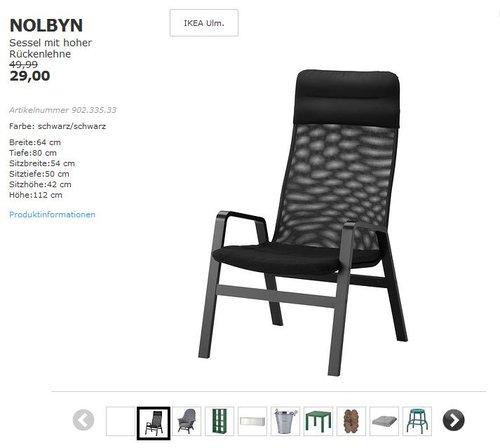 IKEA  NOLBYN Sessel mit hoher Rückenlehne, Birkenfurnier, schwarz - jetzt 41% billiger