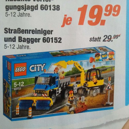 LEGO City 60152 - Straßenreiniger und Bagger - jetzt 33% billiger