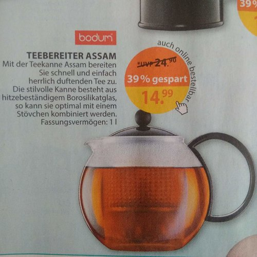 Bodum assam Teebereiter 1Liter schwarz - jetzt 40% billiger