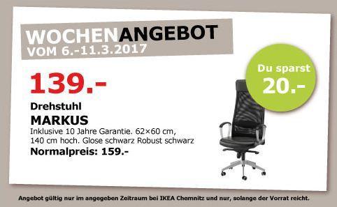 IKEA MARKUS Drehstuhl, 62x60cm, 140 cm hoch,Glose schwarz - jetzt 13% billiger