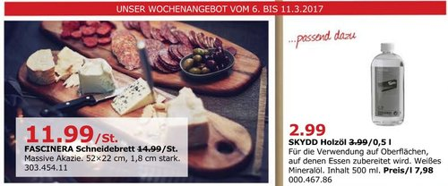 IKEA FASCINERA Schneidebrett, 52x22 cm, 1.8 cm stark, Akazie - jetzt 20% billiger