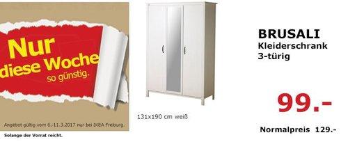 IKEA  BRUSALI Kleiderschrank 3-türig, 131x190 cm, weiß - jetzt 23% billiger