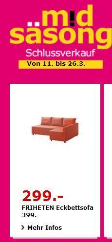 IKEA FRIHETEN Eckbettsofa, dunkelorange, 230×88/151 cm, 66 cm hoch - jetzt 0% billiger