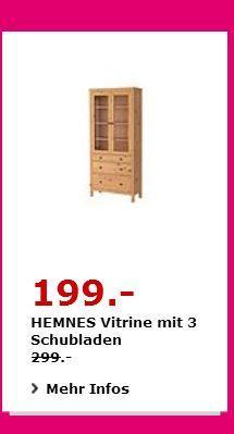 IKEA HEMNES Vitrine mit 3 Schubladen, massive Kiefer, 90×37 cm, 197 cm hoch. Hellbraun - jetzt 33% billiger