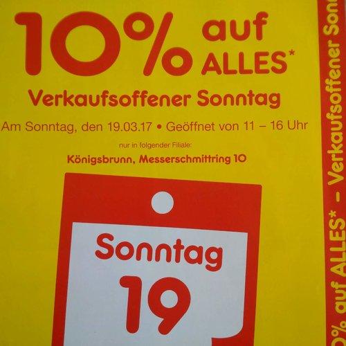 10 % Rabatt am 19.03.17 auf fast alles - jetzt 10% billiger