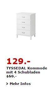 IKEA TYSSEDAL Kommode mit 4 Schubladen, 67×49 cm, 102 cm hoch. Weiß - jetzt 19% billiger