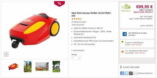 Wolf Mähroboter ROBO SCOOTER 400 - jetzt 42% billiger