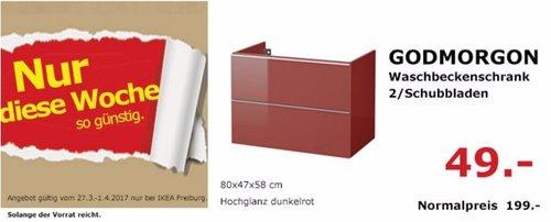 IKEA GODMORGON Waschbeckenschrank, 2 Schubladen, 80x47x58 cm, Hochglanz dunkelrot - jetzt 75% billiger