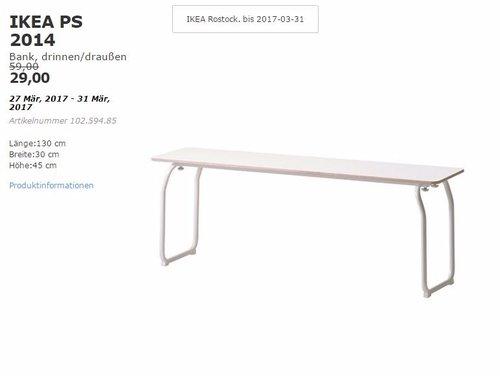 IKEA PS 2014 Bank, drinnen/draußen, 130x30x45 cm - jetzt 51% billiger