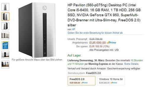 HP Pavilion (560-p075ng) Desktop PC (Intel Core i5-6400, 16 GB RAM, 1 TB HDD, 256 GB SSD, NVIDIA GeForce GTX 950, SuperMulti-DVD-Brenner mit Ultra-Slim-tray, FreeDOS 2.0) silber - jetzt 13% billiger