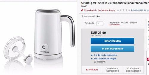 Grundig MF 7280 w Elektrischer Milchaufschäumer - jetzt 39% billiger