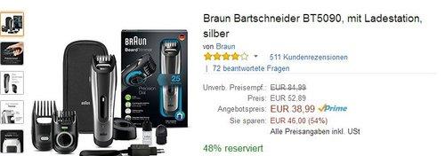 Braun Bartschneider BT5090, mit Ladestation, silber - jetzt 26% billiger