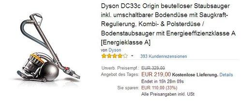 Dyson DC33c Origin - jetzt 33% billiger
