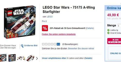 LEGO Star Wars 75175 A-Wing Starfighter - jetzt 20% billiger