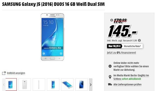SAMSUNG Galaxy J5 (2016) DUOS 16 GB Weiß Dual SIM - jetzt 19% billiger