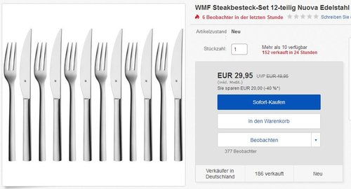 WMF Grill-/ Steakbesteck Set Nuova, 12-teilig - jetzt 40% billiger