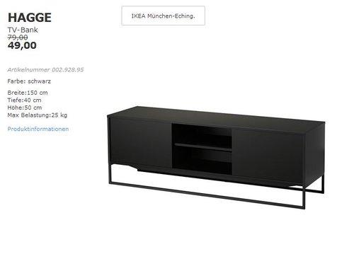 IKEA HAGGE TV-Bank schwarz, 150x40cm, Höhe50 cm - jetzt 38% billiger
