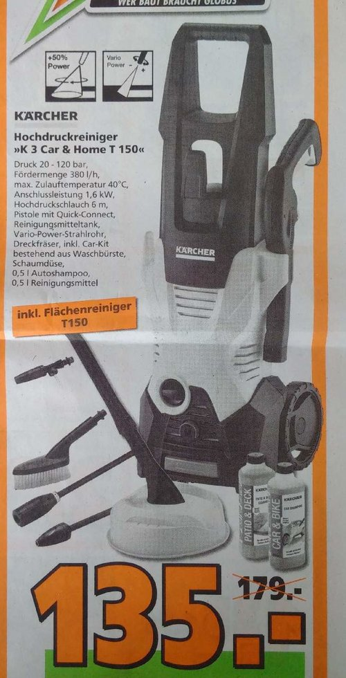 KÄRCHER Hochdruckreiniger K 3 Car & Home + T150 Flächenreiniger - jetzt 30% billiger