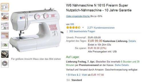 W6 Nähmaschine N 1615 Freiarm Super Nutzstich-Nähmaschine - 10 Jahre Garantie - jetzt 23% billiger